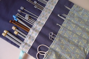 Knitting needle roll made with blue fabrics